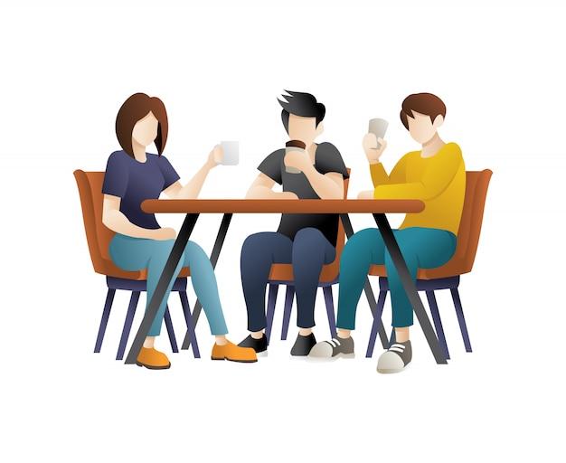 Młodzi ludzie jedzą w restauracji Premium Wektorów