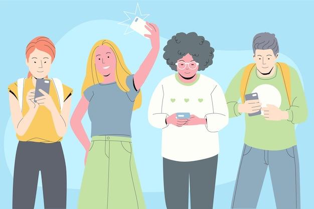Młodzi Ludzie Korzystający Ze Smartfonów Darmowych Wektorów