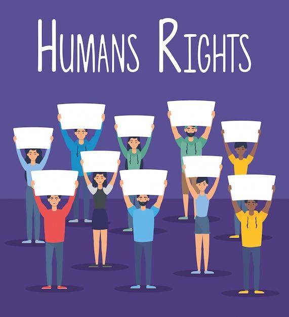 Młodzi Ludzie Międzyrasowi Z Prawami Człowieka Etykiety Wektor Ilustracja Projektu Darmowych Wektorów