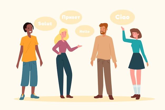 Młodzi ludzie mówią różnymi językami Darmowych Wektorów