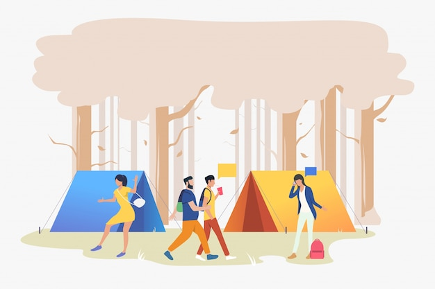 Młodzi ludzie na kempingu w ilustracji drewna Darmowych Wektorów