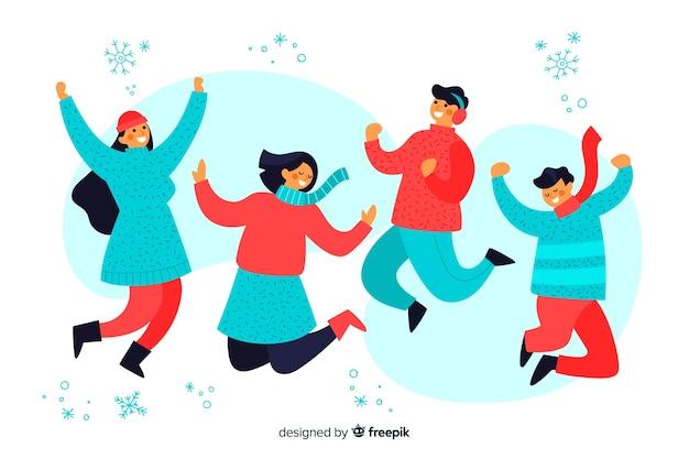 Młodzi Ludzie Noszący Ubrania Zimowe Skoki Ilustracji Darmowych Wektorów