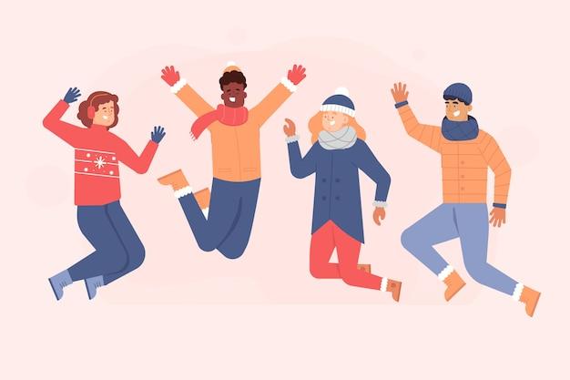 Młodzi ludzie noszący ubrania zimowe skoki Darmowych Wektorów