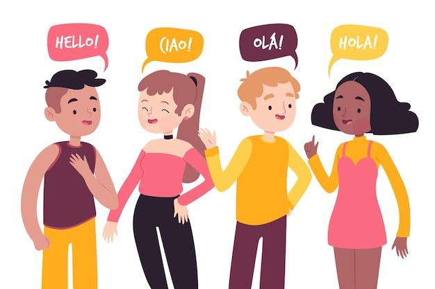 Młodzi Ludzie Rozmawiają W Różnych Językach Darmowych Wektorów