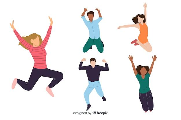Młodzi Ludzie Skaczą I Dobrze Się Bawią Darmowych Wektorów