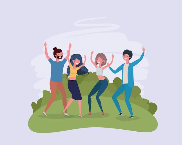 Młodzi Ludzie Skaczący świętujący W Postaciach Parku Darmowych Wektorów