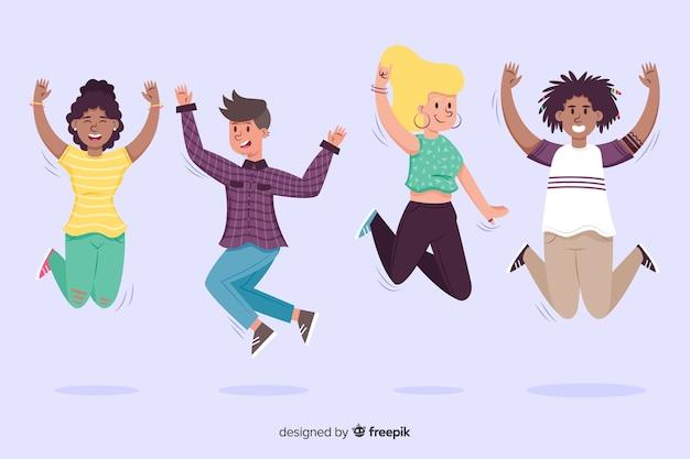 Młodzi ludzie skaczący w powietrzu Darmowych Wektorów