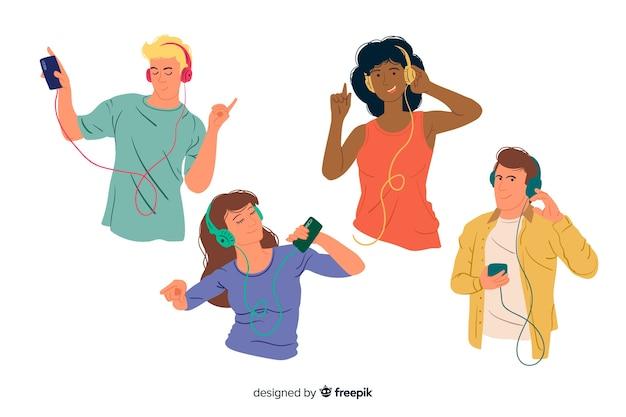 Młodzi ludzie słuchają muzyki Darmowych Wektorów
