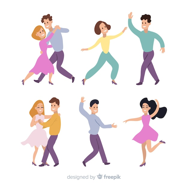 Młodzi Ludzie Tańczą. Lekcje Tańca. Przyjęcie Darmowych Wektorów