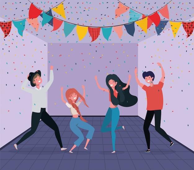 Młodzi ludzie tańczą w pokoju Darmowych Wektorów