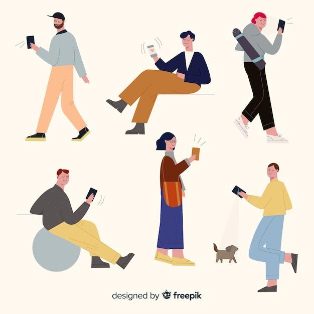 Młodzi ludzie trzymający smartfony Darmowych Wektorów