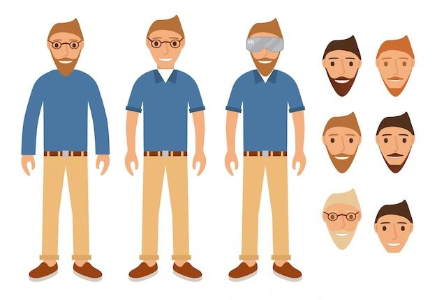 Młodzi ludzie w okularach i kasku wirtualnej rzeczywistości. Premium Wektorów
