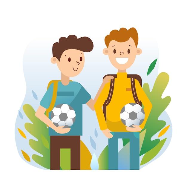Młodzi Ludzie Z Piłkami Nożnymi Darmowych Wektorów