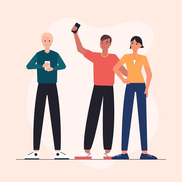Młodzi Ludzie Z Płaskim Ręcznie Rysowane Za Pomocą Smartfonów Darmowych Wektorów