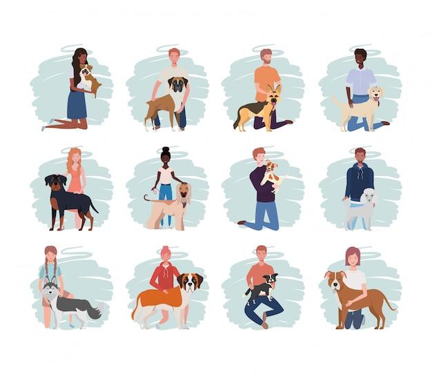 Młodzi ludzie z uroczymi psami maskotki Premium Wektorów