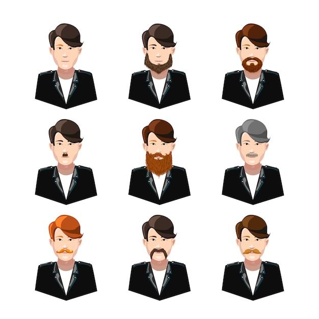 Młodzi Mężczyźni Z Różnego Rodzaju Wąsami I Brodami Na Białym Tle Premium Wektorów
