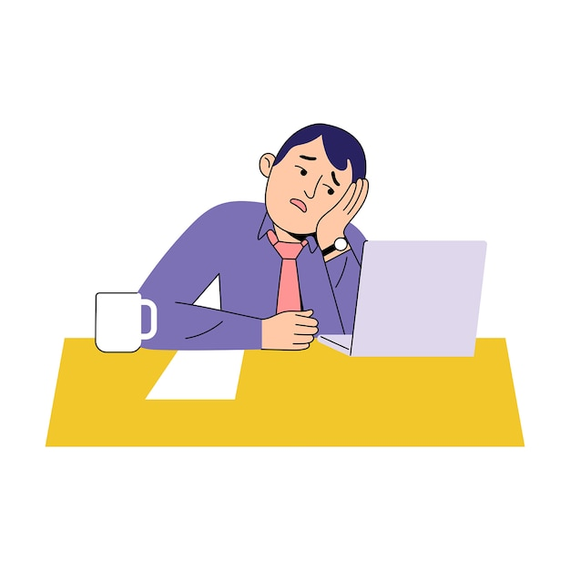 Młodzi pracownicy nudzą się przy biurku Premium Wektorów