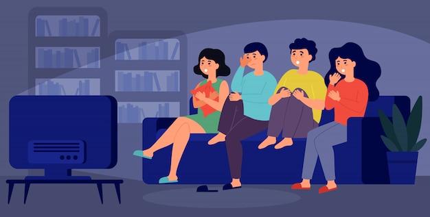 Młodzi Przyjaciele Razem Oglądają Horror Darmowych Wektorów