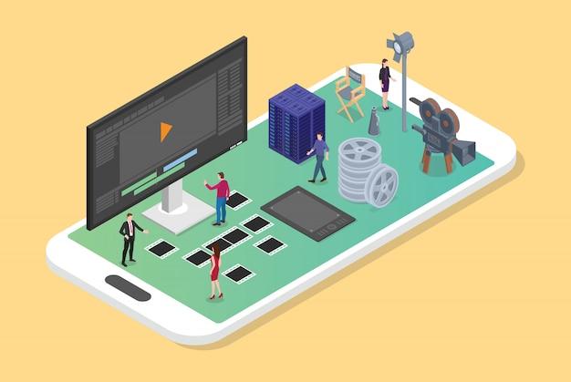 Mobilna Edycja I Produkcja Wideo Na Smartfonie Z Różnymi Zestawami Produkcji Filmowych Premium Wektorów
