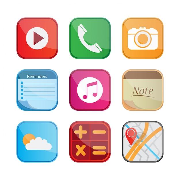 Mobilna Kolekcja Ikon Premium Wektorów
