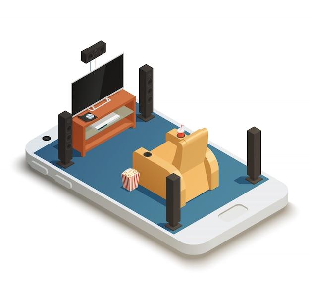 Mobilna kompozycja izometryczna kina domowego Darmowych Wektorów