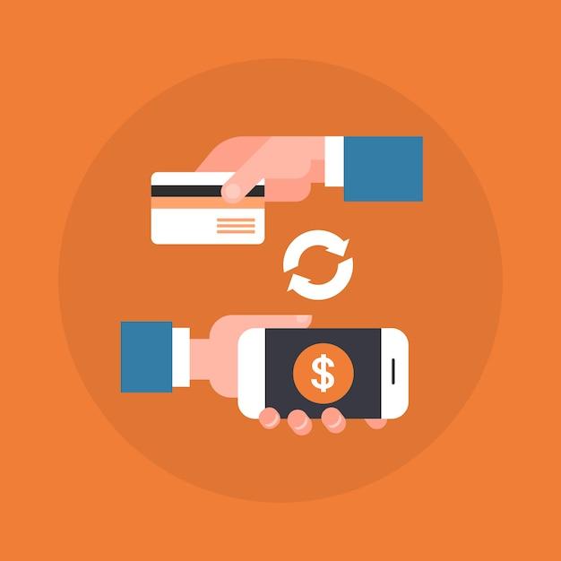 Mobilna płatnicza ikony ręka trzyma mądrze telefon i kredytową kartę Premium Wektorów