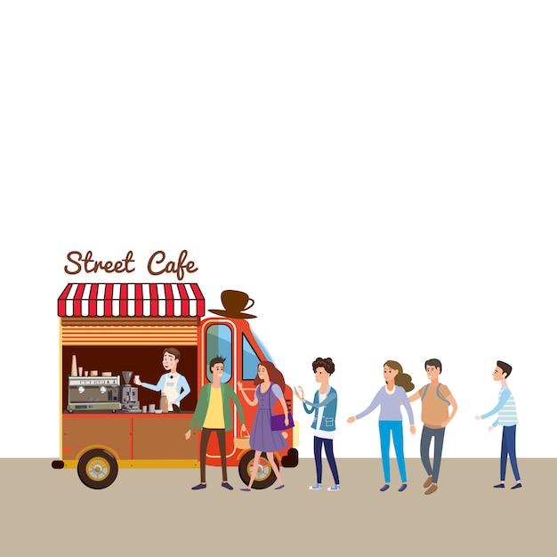 Mobilna żywność van Premium Wektorów