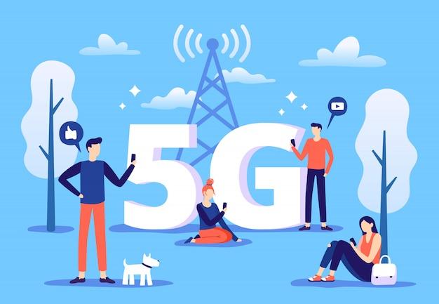 Mobilne Połączenie 5g. Ludzie Ze Smartfonami Używają Szybkiego Internetu, Sieci Piątej Generacji I Strefy Zasięgu Premium Wektorów