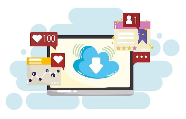 Mobilne Przetwarzanie W Chmurze W Mediach Społecznościowych, Takie Jak śledzenie Ilustracji Wiadomości Na Czacie Premium Wektorów