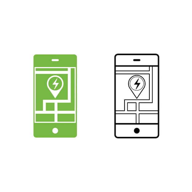 Mobilne wyszukiwanie ikony stacji obsługi samochodów elektrycznych Premium Wektorów