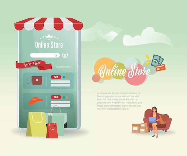 Mobilne Zakupy Online Koncepcja Aplikacja Na E-commerce. Premium Wektorów