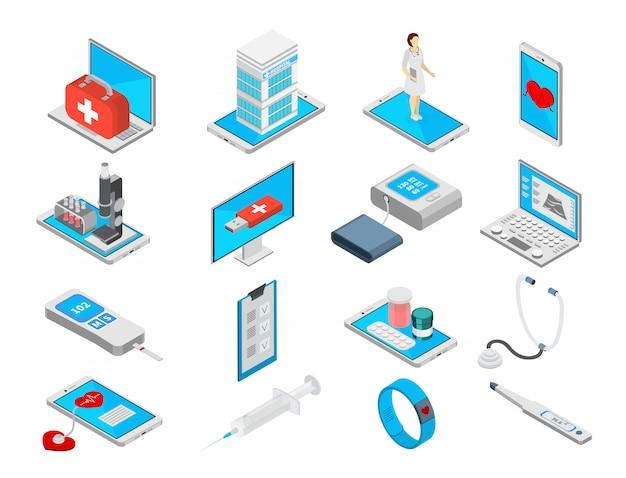 Mobilnej Medycyny Isometric Ikony Ustawiać Z Traktowanie Symbolami Odizolowywali Ilustrację Darmowych Wektorów