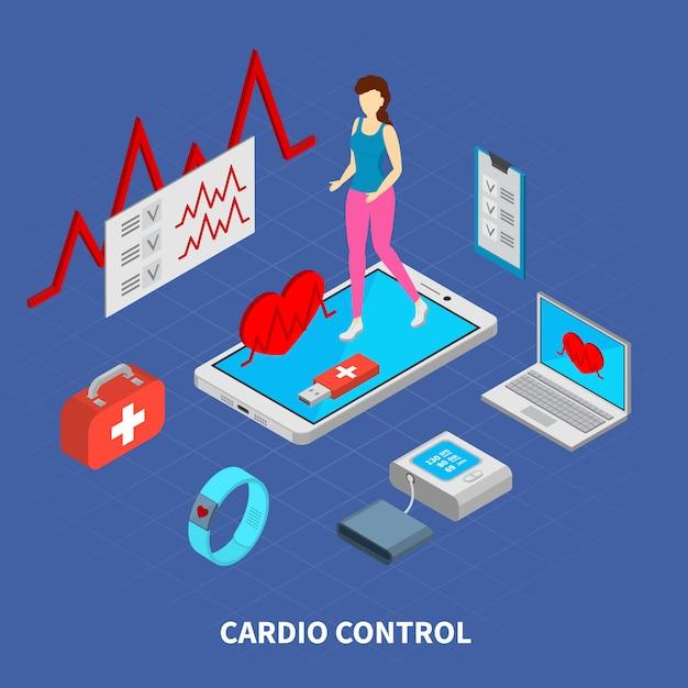 Mobilny Medycyna Skład Z Cardio Kontrolnych Symboli / Lów Isometric Ilustracją Darmowych Wektorów