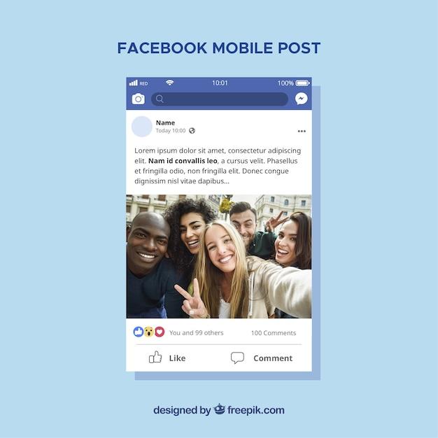 Mobilny Post Na Facebooku O Płaskiej Konstrukcji Darmowych Wektorów