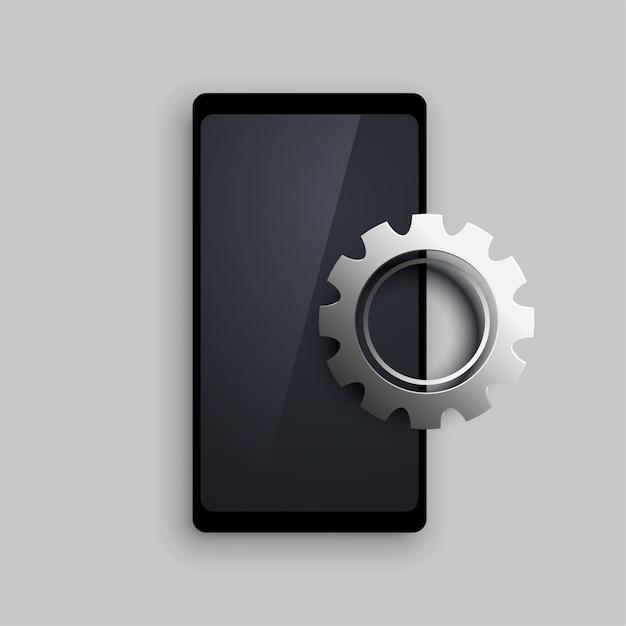 Mobilny Z 3d Ustawiającym Metaliczne Tło Przekładni Darmowych Wektorów