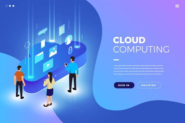 Mocksite website cloud computing Premium Wektorów