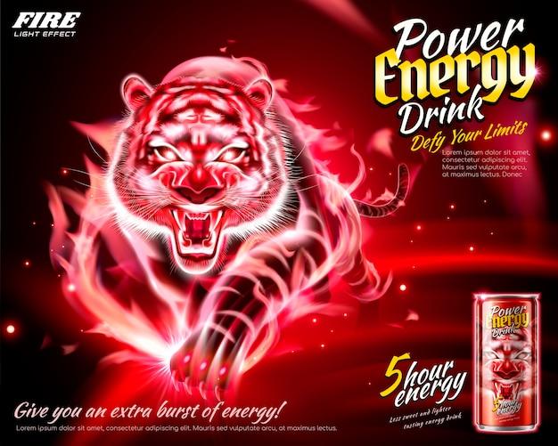 Mocne Reklamy Napojów Energetycznych Z Efektem Płomiennego Tygrysa Premium Wektorów