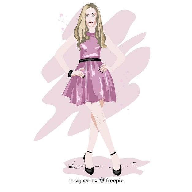 Moda Blond Kobieta Model Z Różową Sukienkę, Charakter Ilustracja Darmowych Wektorów