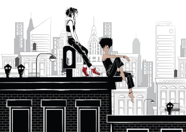 Moda Dziewczyna W Stylowy Szkic W Nowym Jorku Premium Wektorów