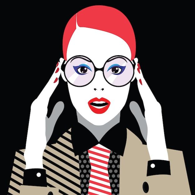 Moda kobieta w stylu pop-art. Premium Wektorów