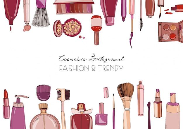 Moda Kosmetyki Poziome Tło Z Tworzą Obiekty Artysty. Ręcznie Rysowane Ilustracja Z Miejscem Na Tekst. Premium Wektorów