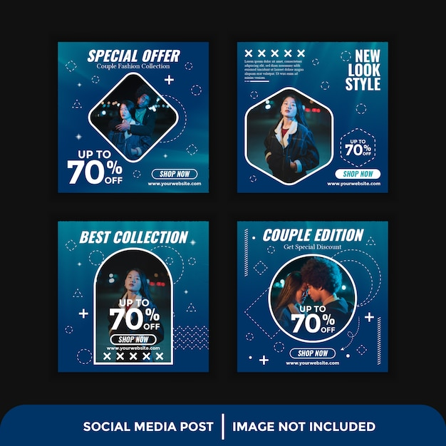 Moda media społecznościowe szablon instagram post banner Premium Wektorów
