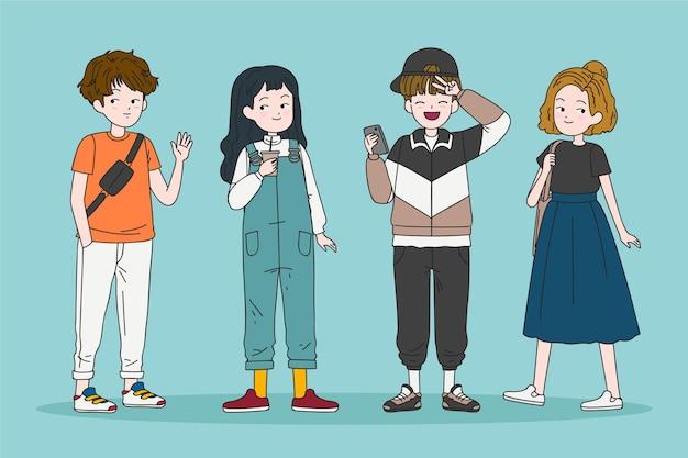 Moda Młodych Koreańczyków Darmowych Wektorów