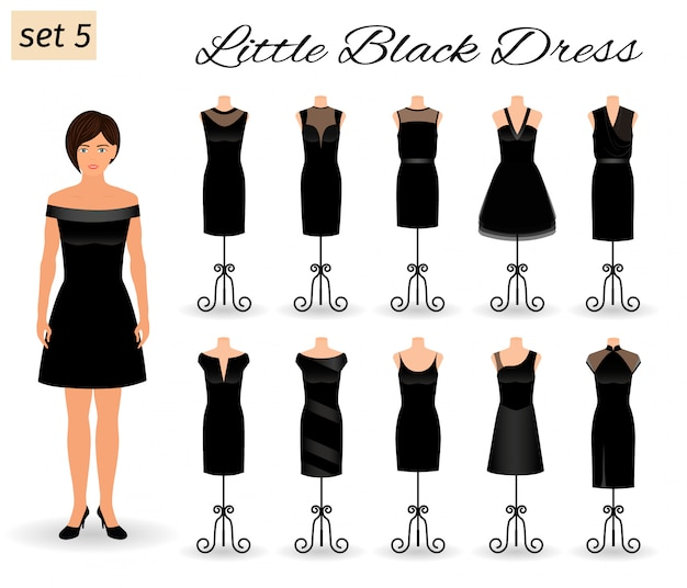 Moda Model Kobieta Postać W Małej Czarnej Sukience. Zestaw Sukienek Koktajlowych Na Manekinach. Premium Wektorów