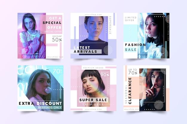Moda Na Sprzedaż W Mediach Społecznościowych Darmowych Wektorów