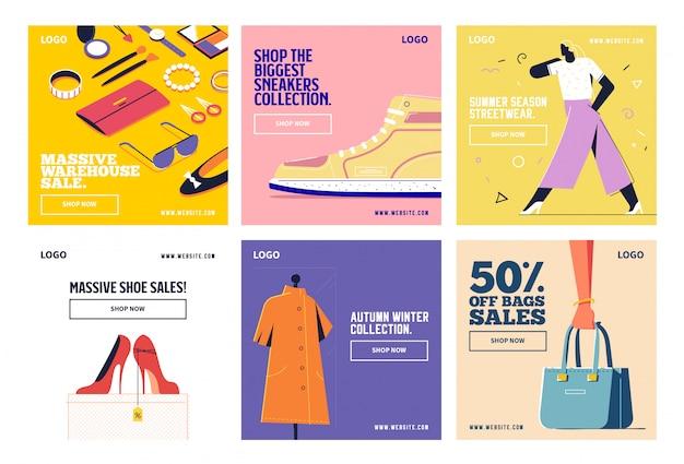 Moda na zakupy w mediach społecznościowych po kolekcji instagram Premium Wektorów
