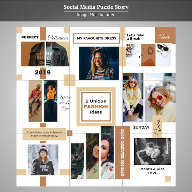 Moda puzzle social media post template for marketing Premium Wektorów