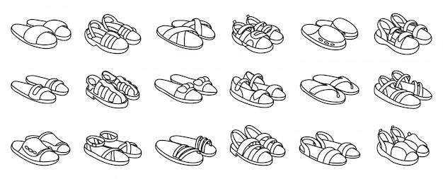 Moda Sandał Na Białym Premium Wektorów