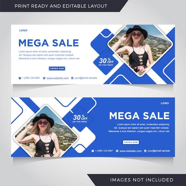 Moda Sprzedaż Szablon Transparent Okładka Facebook. Premium Wektorów