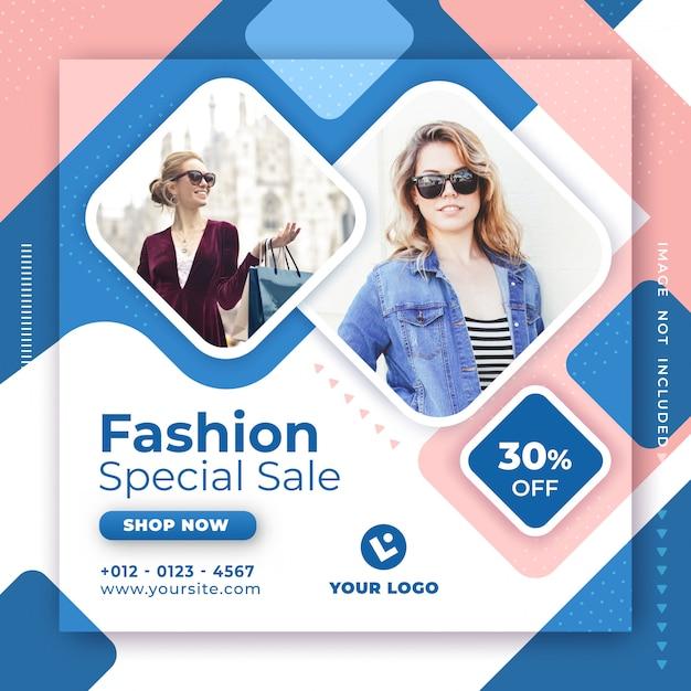 Moda Sprzedaż Transparent Media Społecznościowe Szablon Projektu Post. Premium Wektorów